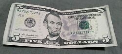 5 Dollar Bill US Currency Unique Fancy Rare Serial Number Trinary MJ 72217127 B $11.00