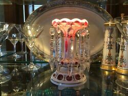 CZECH BOHEMIAN CRANBERRY GLASS LUSTER CANDLE HOLDER PRISMS Antique $210.00