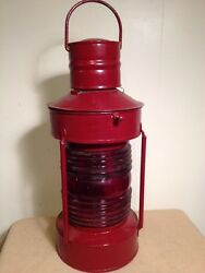Vintage Ships Lantern Red Complete Large 7 1 2x20 Inch Tall $169.00