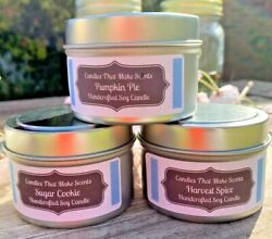 Handmade Soy Candles that smell AMAZING in 6 Oz or 8 Oz Tins $10.29