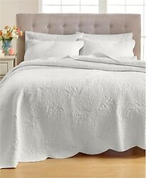 Martha Stewart FULL QUEEN Quilt Stenciled Leaves Embroidered Cotton WHITE D0Z264 $55.99