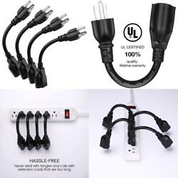 Ul Listed Miady Short Power Extension Cord Outlet Saver 16Awg 13A 3 Prong 4 $13.99