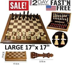 LARGE Vintage Wooden Chess Set Wood Board Hand Carved Crafted Folding Game 17quot; $66.84