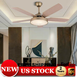 52quot; Dimmable Ceiling Fan Lamp w Light Remote Control LED Chandelier Gold $154.00