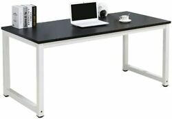 Black Wood Computer Table Study Desk Office Furniture PC Laptop Workstation Home $56.03