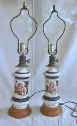 Ceramic Pair Lamps Hand Painted Vintage Pottery Decor Jars Urns Fruit Classical $175.00