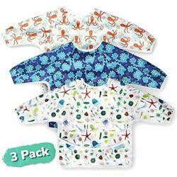 CozyBear Long Sleeve Baby Waterproof Full Body Bibs W Food Catcher 3ct 6 24mo $44.65