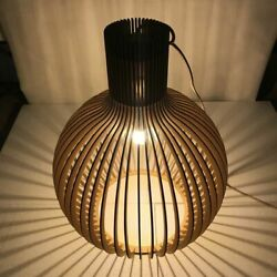Wood Birdcage E27 Bulb Pendant Light Modern Black Bamboo Weaving Wooden Lamps $109.99