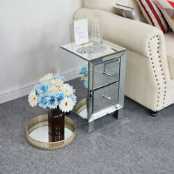 Modern Mirrored 2 Drawers Nightstand End Table Bedroom Storage Sofa Side Bedside $86.99