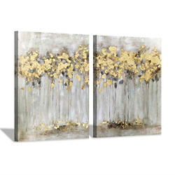 Fall Tree Canvas Picture Artwork: Abstract Forest Wall Art Painting on Canvas x $85.63