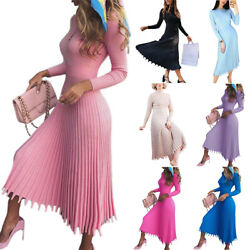 Women Pleated Slim Fit Knit Dress Long Sleeve Ladies Cocktail Party Maxi Dresses $53.89