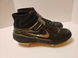 Nike Alpha Huarache Elite 2 Mid GOLD BLACK Baseball Cleats Size 11 CI2228 003 $101.99
