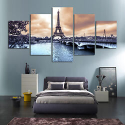 5Pcs Paris Cityscape Eiffel Tower Print Canvas Painting Home Wall Art Decor Set $20.80