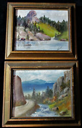 PAIR OF OLD OIL PAINTINGS SIGNED HART No Date Framed 6 1 4quot; x 5 1 4quot; Each $55.00