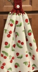 Double White hanging kitchen towel Red Cherries crocheted Red top $12.00