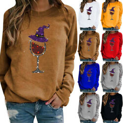 Womens Christmas Wine Glass Sequin Tops Shirt Ladies Long Sleeve Pullover Blouse $18.71