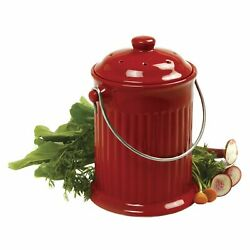 Norpro 1 Gal.Ceramic Kitchen Composter Red Free 2 day delivery $42.99