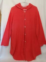 Fresh Produce hooded cover up cardigan jacket coral cotton pockets. Large $19.50