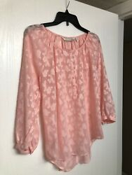 Lauren Conrad Pink Ladies Spring Blouse 3 4 sleeve Size Small With Buttons $8.90