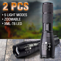 2 x Tactical LED Flashlight Super Bright 18650 Zoomable Waterproof Flashlights $9.99