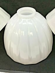 Antique Light Lamp Shades Milk Glass 8quot; Ribbed Finned Radial Dome 2 1 4quot; Fitter $35.00