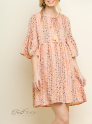 Umgee Blush Babydoll Mini Floral Embroidered Bell Sleeve Front Keyhole Dress $29.00
