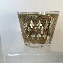 Vintage Glass Ice Bucket MCM Culver Valencia Pattern 22K Gold And Green $33.00