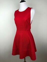 Forever 21 Dress Cocktail Party Red Skater Style Dress Scoop Neck Lace Back Sm $16.10