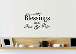 Our Greatest Blessings Nana amp; Papa Vinyl Wall Decal Sticker Home Décor Family $12.87
