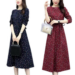 Womens Floral Long Sleeve Swing Casual Long Dress Party Fall Spring Maxi Dresses $15.48