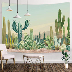 Cartoon Desert Cactus Tapestry 80x60 Inches Sketch Full of Art Wall Hanging for $31.54