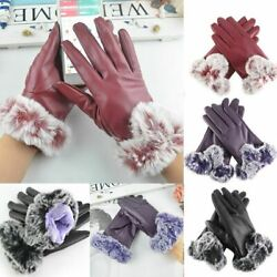 Women Winter Leather Gloves Touch Screen Windproof Waterproof Thick Snow Warm $7.88