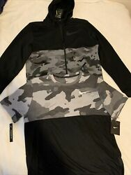 Nike Camouflage Clothes Lot Camo Full zip Hoodie Medium Black T Shirt Large 110$