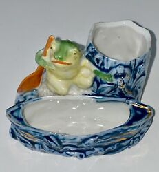 ANTIQUE FROG WITH PADDLE POTTERY MATCH HOLDER STRIKER $35.00