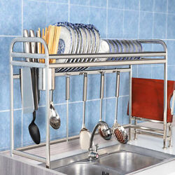 36quot; Over The Sink Dish Drying Rack Stainless Steel Kitchen Cutlery Holder Shelf $28.59