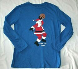 Old Navy Boys Christmas T Shirt Top XL 14 16 Blue Santa Dunking Cookie T33 $9.99
