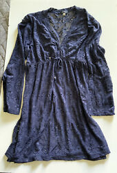 NAUTICAL LACE COVER UP TUNIC DRESS BLUE Size L $11.00