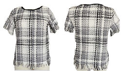 Shein Black And White Tweed Plaid Blouse With Fringe Small $11.99