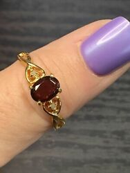 2Ct Oval Shape Red Garnet Vintage Women#x27; Engagement Ring 14K Yellow Gold Finish $94.49