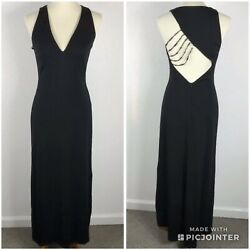 David Meister Women Sz 6 Long Party Dress Black Beaded Cut Out Back Maxi Lined $24.50