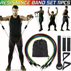 11 PCS Resistance Band Set Yoga Pilates Abs Exercise Fitness Tube Workout Bands $8.95