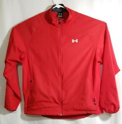 Under Armour Loose Fit Fitness Running Cycling Jacket Mens SZ Large L Red UA Zip $13.99