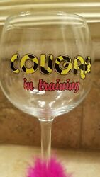 Novelty wine glass Cougar in Training pink boa trim $9.00