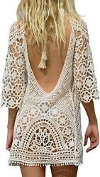 Women's Bathing Suit Cover Up Crochet Lace Bikini Swimsuit Dress One Size M $18.50
