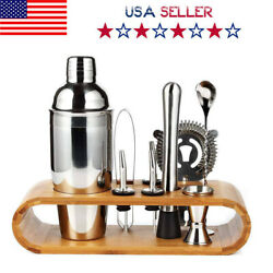 10Pcs Pro Bartender Kit Cocktail Shaker Set Drink Mixing Mixer Tool For Homeamp;Pub $20.99