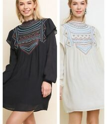 LIQUIDATING UMGEE Black or Cream Embroidered Boho Dress Size S M or L NEW $18.00