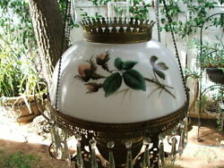 Antique Hand Painted VICTORIAN Hanging LAMP SHADE for GWTW Parlour Oli Lamp $165.00