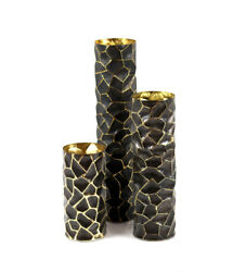 Handmade Black and Silver geometric table vase 10quot; $57.43