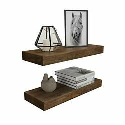 Floating Wall Shelf Set of 2Natural Bamboo Wall Decor Storage Walnut $48.02