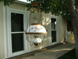 Original Victorian Hanging Parlor Lamp Library Oil GWTW Antique Prisms $385.00